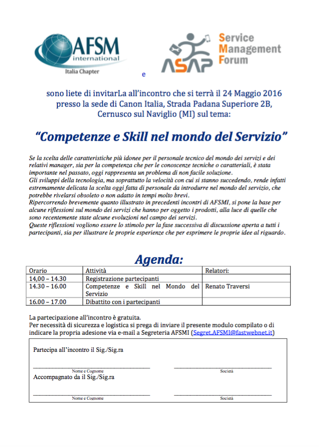 Competenze e Skill nel mondo del Servizio